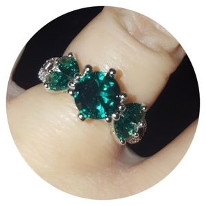 Emerald & CZ Cocktail Ring